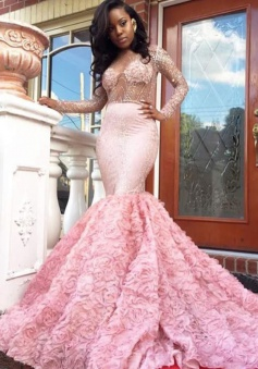 Mermaid Deep V-Neck Court Train Long Sleeves Pink Satin Prom Dress with Beading Ruffles