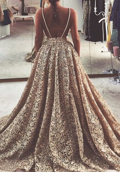 A-Line Spaghetti Straps Court Train Backless Champagne Lace Prom Dress