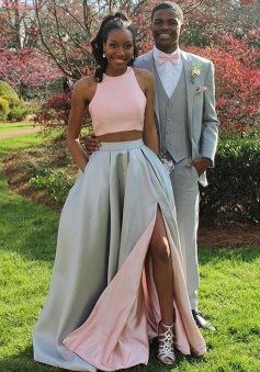 Two Piece Jewel Sweep Train Split-Side Pink Satin Prom Dress with Ruched
