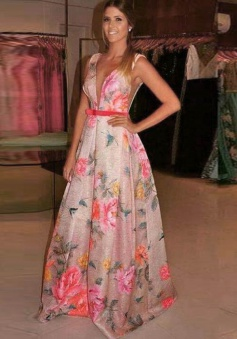 A-Line V-Neck Floor-Length Flowers Print Ivory Satin Prom Dress with Bowknot