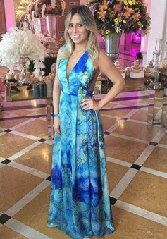A-Line V-Neck Floor-Length Print Backless Blue Chiffon Prom Dress