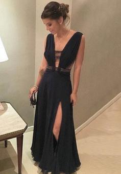 Sheath V-Neck Keyhole Cut Out Split-Side Black Chiffon Prom Dress with Beading