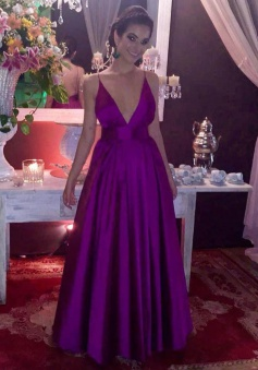 A-Line Deep V-Neck Floor-Length Backless Grape Stretch Satin Prom Dress