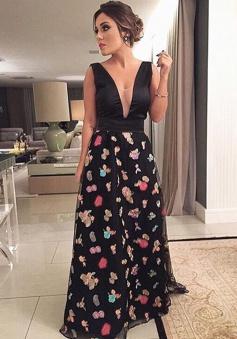 A-Line V-Neck Sweep Train Print Backless Black Chiffon Prom Dress