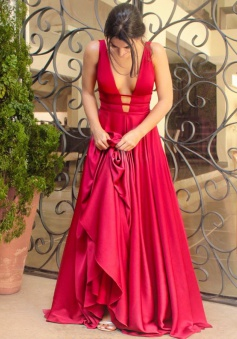 A-Line Deep V-Neck Sweep Train Keyhole Open Back Red Stretch Satin Prom Dress