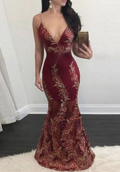 Mermaid Deep V-Neck Floor-Length Backless Burgundy Stretch Satin Prom Dress with Appliques