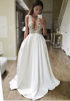 A-Line Deep V-Neck Sweep Train Backless Ivory Satin Prom Dress with Appliques Beading