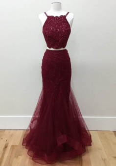 Two Piece Halter Floor-Length Burgundy Tulle Prom/Evening Dress with Beading