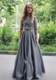 Two Piece Jewel Floor-Length Half Sleeves Grey Satin Prom Dress with Appliques