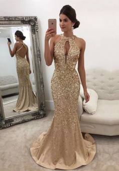 Mermaid Halter Sweep Train Criss-Cross Straps Keyhole Champagne Satin Prom/Evening Dress with Beading