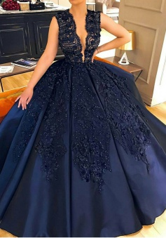 Ball Gown Jewel Court Train Sleeveless Navy Blue Satin Prom Dress with Appliques Beading