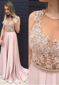 A-Line Crew Sweep Train Sleeveless Pink Stretch Satin Prom Dress with Appliques Beading