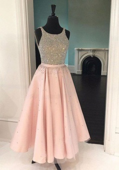 A-Line Scoop Tea-Length Sleeveless Pink Tulle Prom Dress with Beading