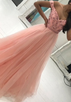 A-Line Off-the-Shoulder Sweep Train Pink Tulle Prom Dress with Beading