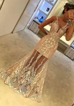 Mermaid V-Neck Floor-Length Sleeveless Champagne Tulle Prom Dress with Appliques