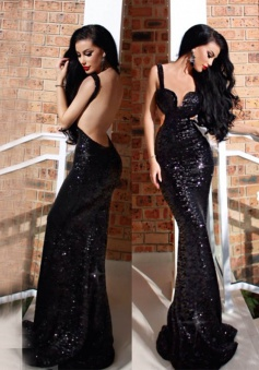 Mermaid Straps Sweep Train Cut Out Backless Black Sequined Prom Dress