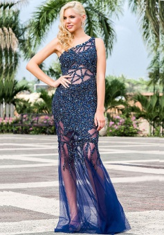 Mermaid One-Shoulder Sweep Train Hollow Navy Blue Tulle Prom Dress with Beading