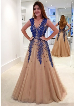 A-Line V-Neck Sweep Train Backless Champagne Tulle Prom Dress with Appliques Beading