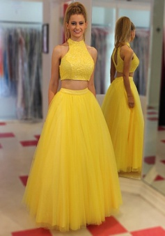 Two Piece Jewel Floor-Length Open  Back Yellow Prom/Evening Dress with Beading