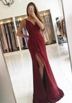 Mermaid V-Neck Sweep Train Split-Side Burgundy Chiffon Prom/Evening Dress