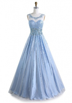 A-Line Scoop Floor-Length Sleeveless Open Back Light Blue Tulle Prom Dress with Beading