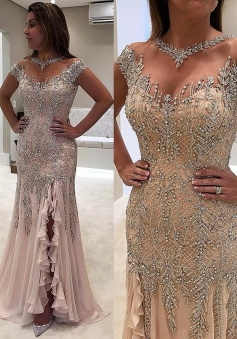 Mermaid Off-the-Shoulder Sweep Train Split-Side Champagne Chiffon Prom Dress with Beading