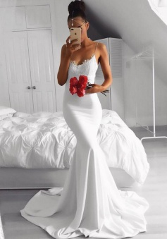 Mermaid Spaghetti Straps Court Train White Prom Dress with Lace