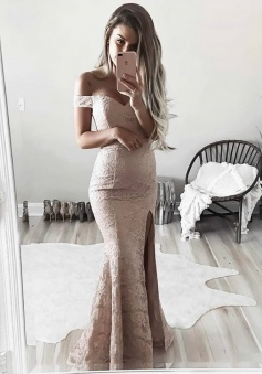 Sheath Off-the-Shoulder Floor-Length Blush Lace Prom Dress with Split