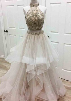 Two Piece Halter Asymmetrical Ivory Tulle Prom Dress with Beading Rhinestones