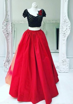 Two Piece V-Neck Short Sleeves Red Taffeta Prom Dress with Lace Flowers