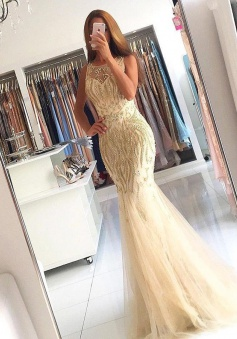 Mermaid Jewel Sweep Train Light Champagne Tulle Prom Dress with Beading