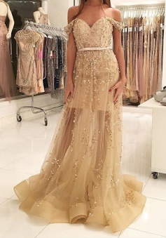 A-Line Off-the-Shoulder Sweep Train Champagne Prom Dress with Sash Beading