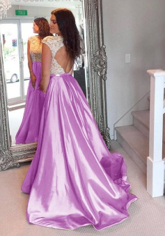 A-Line Bateau Open Back Sweep Train Lilac Taffeta Prom Dress with Lace