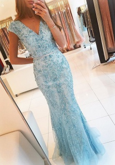 Mermaid V-Neck Cap Sleeves Blue Tulle Prom Dress with Sash Beading