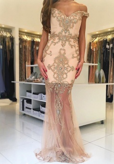 Sheath Off-the-Shoulder Sweep Train Champagne Tulle Prom Dress with Beading