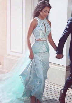Two Piece Sheath Round Neck Blue Prom Dress with Lace Sequins Overskirt