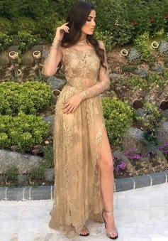 A-Line High Neck Long Sleeves Champagne Tulle Prom Dress with Appliques