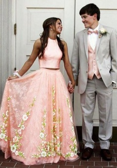 Two Piece Round Neck Pink Tulle Prom Dress with Lace Appliques