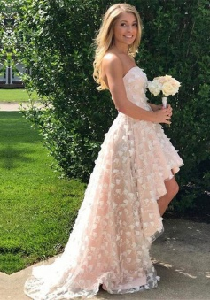 High Low Strapless Pearl Pink Lace Prom Dress with Appliques