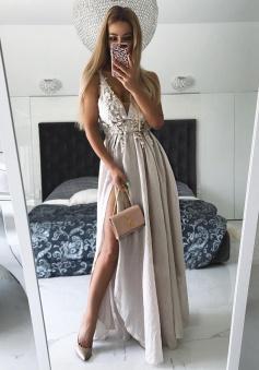 A-Line Deep V-Neck Light Grey Prom Dress with Appliques Split