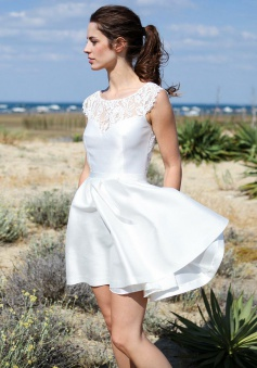 A-Line Bateau Short Ivory Satin Lace Open Back Beach Wedding Dress