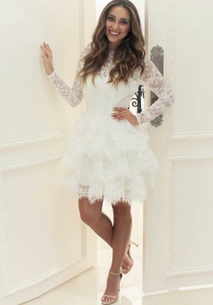 A-Line Round Neck Long Sleeves Tiered Short Lace Wedding Dress