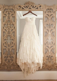 High Quality Sweetheart Hi-Low Tiered Chiffon Wedding Dress