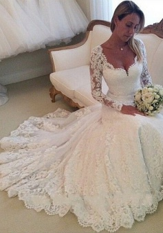 Elegant Sweetheart Long Sleeves Appliques Lace Wedding Dresses Chapel Bridal Gowns WD-70925
