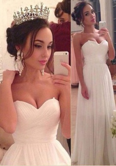Gorgeous A-line Sweetheart Floor-length Ruched Chiffon White Wedding Dress CHWD-70941