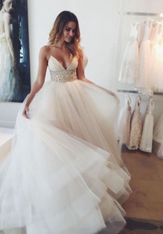 Stunning V-neck Sleeveless Sweep Train Ivory Wedding Dress with Beading Waist