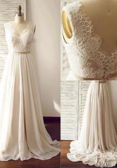 Elegant V-neck Sleeveless Sweep Train Open Back Ivory Wedding Dress with Lace Top