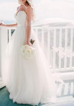 A-line Spaghetti Straps Tulle Sweep Train Appliques Sashes Ivory Wedding Dress