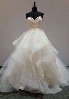 Fabulous Sweetheart Floor-Length Light Champagne Organza Wedding Dress