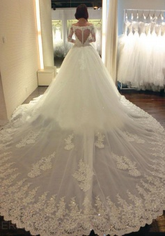 Luxurious Off Shoulder Long Sleeves Watteau Train Wedding Dress with Beading Lace